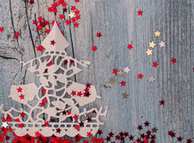 Christmas Tree. Made of paper lacewith decoration Royalty Free Stock Images