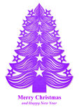 Christmas tree made of paper - purple Royalty Free Stock Images