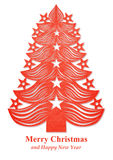 Christmas tree made of paper - red Royalty Free Stock Photo