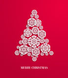 Christmas tree made of paper snowflakes. Vector illustration Stock Photos