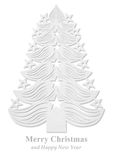 Christmas tree made of paper - white Royalty Free Stock Images
