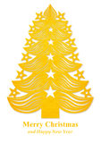 Christmas tree made of paper - yellow Royalty Free Stock Image