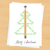 Christmas tree made of pencil and paper clips Stock Photo