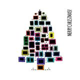 Christmas tree made from photo frames, greeting card for your design vector illustration
