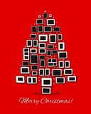 Christmas tree made from photo frames, greeting card for your design stock illustration