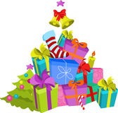 Christmas tree made from presents. Vector Stock Photos