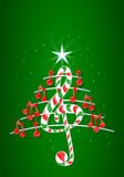 Christmas tree made of red musical notes, candy bar shaped treble clef and pentagram on green background with stars Stock Photography
