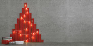 Christmas tree made of red painted planks Royalty Free Stock Photography