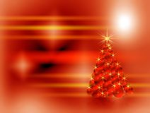 Christmas tree made of red sparkling bulbs Stock Photo