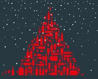 Christmas tree made of red wine bottles and wineglasses. Flat vector illustration royalty free illustration