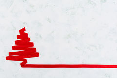 Christmas tree made of ribbon on white background. Royalty Free Stock Photos