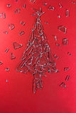Christmas tree made of scattered glass royalty free stock photo
