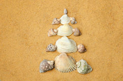 Christmas tree made of shells on the sand Royalty Free Stock Photo
