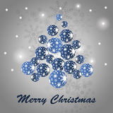 Christmas Tree Made of Shiny Blue Balls Royalty Free Stock Photo