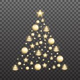 Christmas tree made of shiny gold decorations. Shiny Xmas balls collect in a Christmas tree shape.  stock illustration