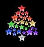 Christmas tree made of shiny stars LGBTQ community rainbow flag colors black background isolated close up, New Year decoration