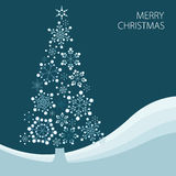 Christmas tree made from simple snowflakes Stock Photo