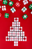 Christmas tree made of small present boxes Royalty Free Stock Images
