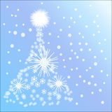 Christmas Tree made from snow. Winter snow picture with white snowflake christmas tree Royalty Free Stock Image