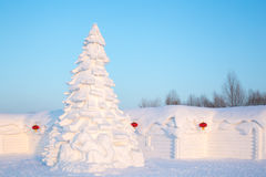 Christmas tree made from snow Stock Image