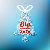 Christmas Tree made from snowflakes with Big Sale. Royalty Free Stock Photo