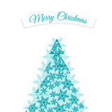 Christmas tree made from snowflakes with ribbon Royalty Free Stock Photos
