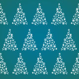 Christmas tree made of snowflakes. Seamless pattern of Christmas trees made of snowflakes on a blue background. Vector illustration Vector Illustration