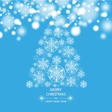 Christmas tree made of snowflakes. Vector eps 10 Royalty Free Stock Photography