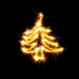 Christmas tree made by sparkler Royalty Free Stock Images