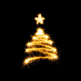 Christmas tree made by sparkler Stock Photography