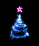 Christmas tree made by sparkler Royalty Free Stock Photo