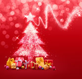 Christmas Tree Made of Sparkles and Lights Stock Photo