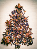 Christmas tree made from spices Royalty Free Stock Photos