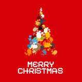 Christmas Tree Made from Splashes, Blots on Red Background Royalty Free Stock Photos