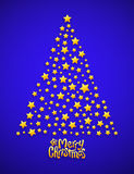 Christmas tree made from stars, blue background Stock Image