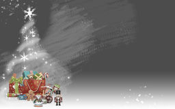 Colored Christmas gifts with white tree and stars (gray background) Stock Photo