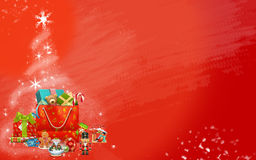 Christmas tree made from stars and colored gifts (red background) Royalty Free Stock Photography