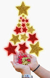 Christmas tree made with stars Stock Images