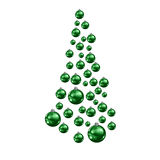 Christmas tree made of suspended green Christmas balls Royalty Free Stock Photos