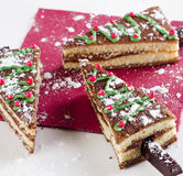 Christmas tree made of sweet cake on a white plate Stock Photo
