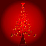 Christmas tree made with symbols. Christmas tree with season symbols over red background Royalty Free Stock Image