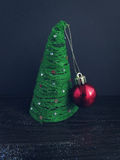 Christmas tree made of thread with decoration ball Royalty Free Stock Image