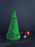 Christmas tree made of thread with decoration ball Royalty Free Stock Images