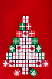 Christmas tree made of tiny gift boxes Royalty Free Stock Images