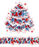 Christmas tree made of traditional symbols Royalty Free Stock Image