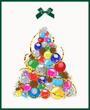 Christmas tree made up of Christmas balls, cones. Vector illustration. Vector image with festive, colorful balls, cones and branches in the form of a tree spruce Stock Images