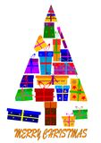 Christmas tree made ​​up of gifts Stock Images