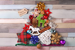 Christmas tree made of various decorations Stock Photos