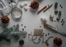 Christmas tree made from wheat flour and decorations. top view. overhead horizontal. Stock Photo