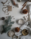 Christmas tree made from wheat flour and decorations. top view. overhead horizontal. Royalty Free Stock Image